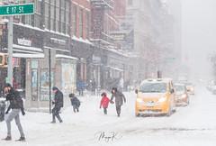 Snowy winter day in New York City