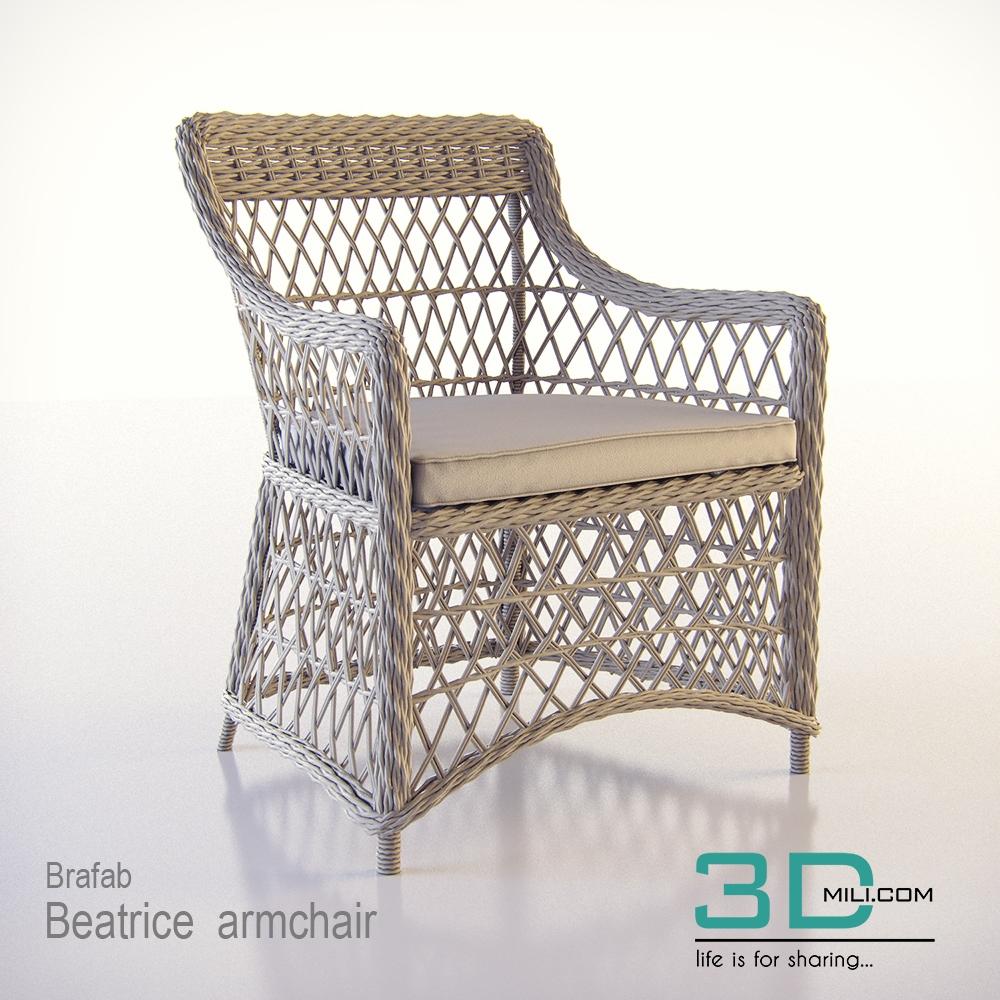 Brafab Beatrice Armchair   3D Mili   Download 3D Model   Free 3D Models    3D Model Download