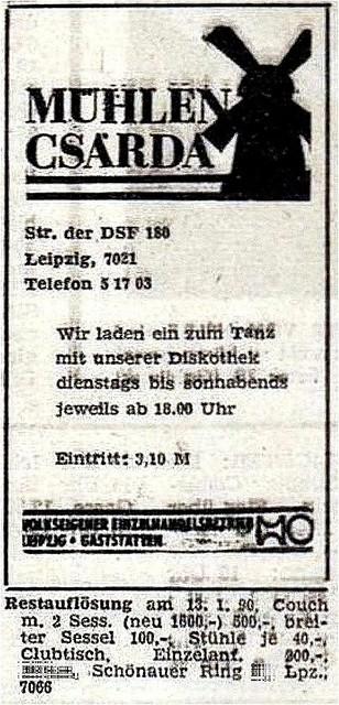 Werbung Januar 1990 - Leipzig