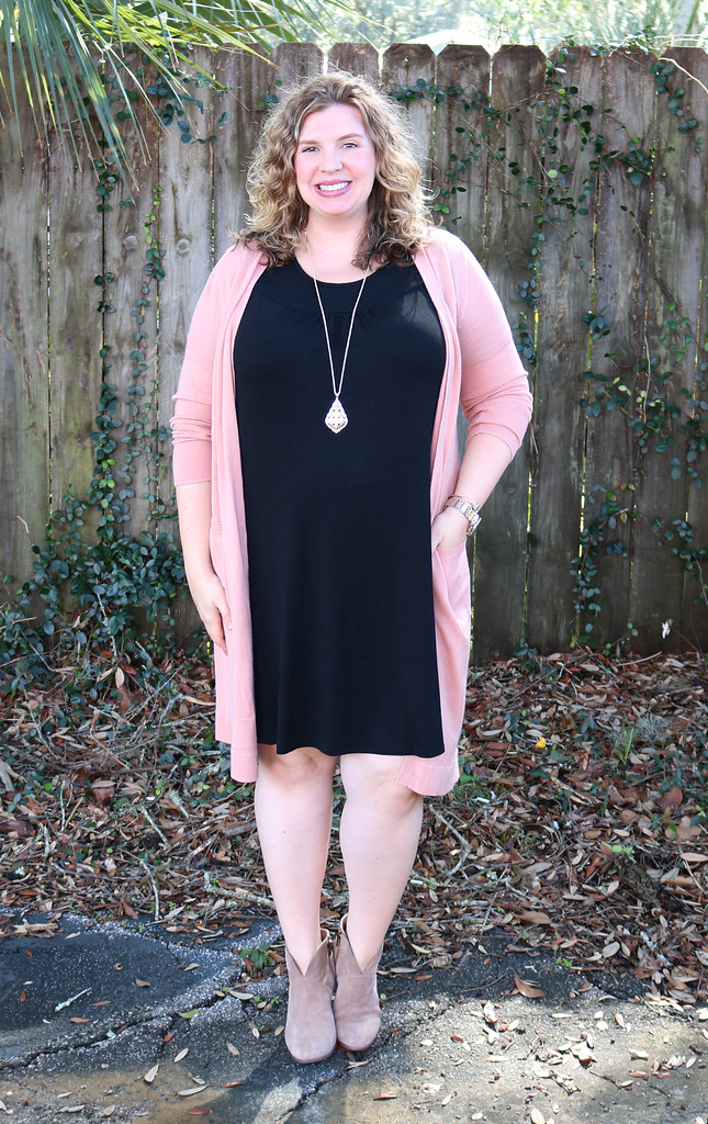 long pink cardigan, black swing dress, mushroom booties 2