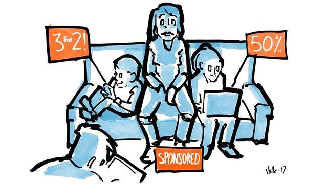 Karstein Vollen kuvitus tekstistä Onko media vain yksi iso mainos?, tuotettu yhteistyössä Eetin ja Ylen kanssa, julkaistu alunperin 28.1.2018 osana mediakasvatuksen artikkelisarjaa 'Mitä eväitä pitäisi pakata tiedonnälkäisen koululaisen digireppuun?'
