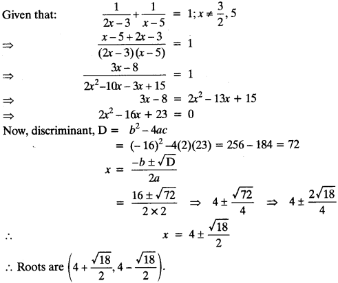 Quadratic Equations Chapter Wise Important Questions Class 10 Mathematics 98a