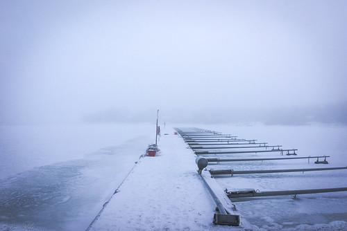 dock fishing sea empty winter ice mist misty fog bothnian bay raahe finland landscape cold cloudy
