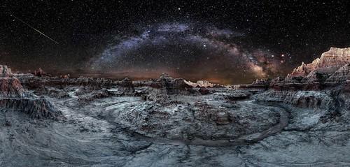cosmic milkyway panorama badlandsnationalpark southdakota alien sandsoftime meteor nightsky otherworldly twb