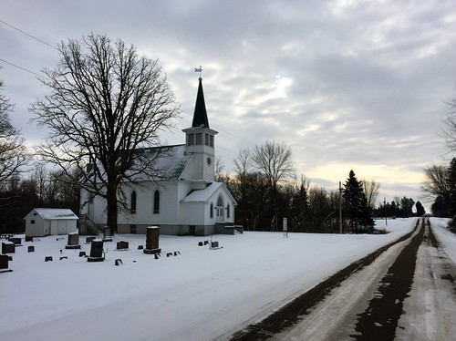 Church on a rural Wisconsin road in winter. Photographer Ted Nelson