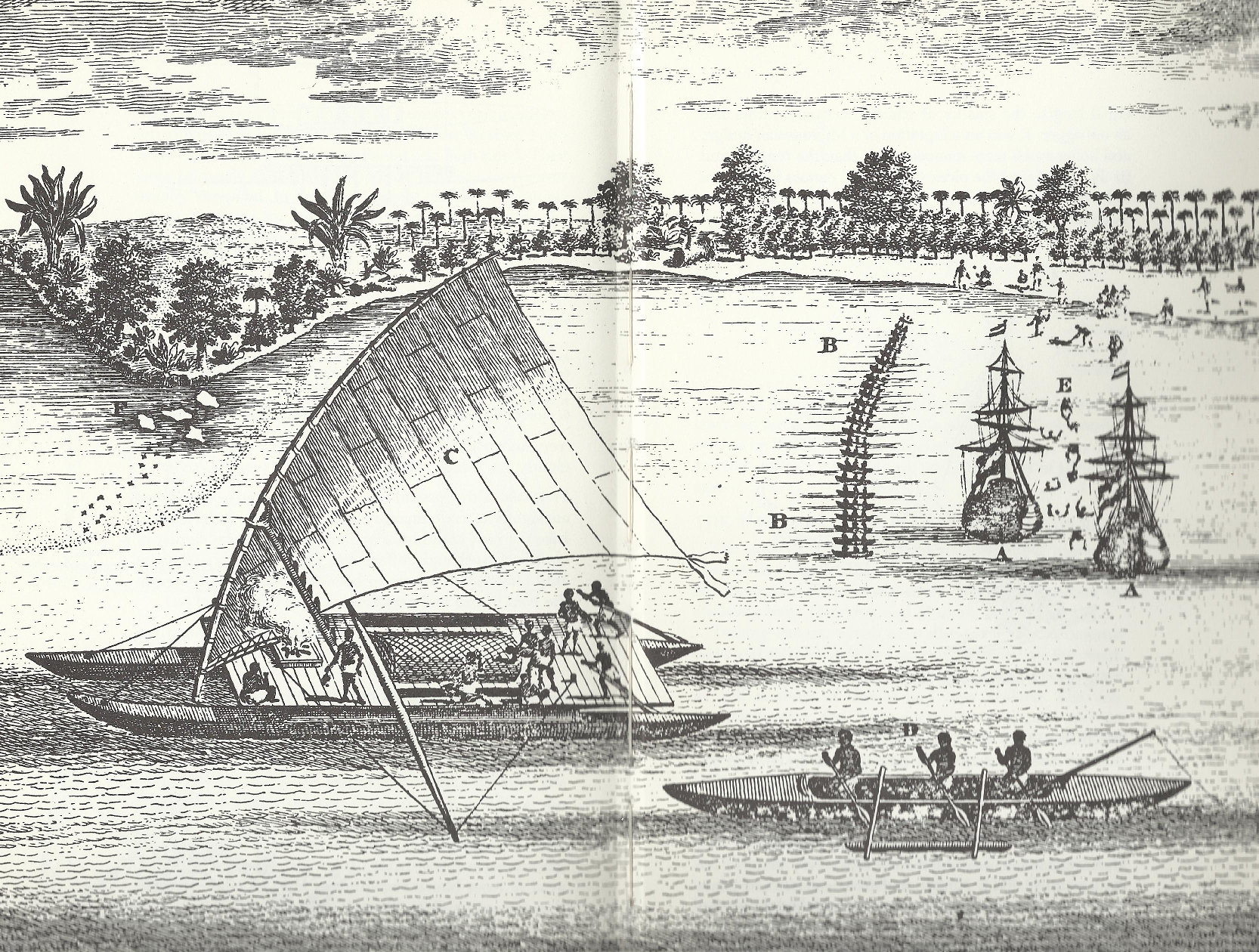 The ships of Abel Tasman's expedition, right-center, and Polynesian outrigger canoe (a Tongan tongiaki) as well as a bonito fishing canoe, front, meet off the coast of one of the Fiji Islands in 1643. This engraving by A Dalrymple, 1770, is based on a drawing by Tasman. Reproduced in We, the Navigators by David Lewis, Australian National University Press, 1972.