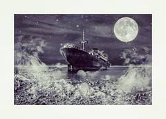 #barco  #elbarco #ship #boat #photo #photography #sea #night #moon #stars  #photoshop #fantasy #edition #fog  #telamon  #canarias