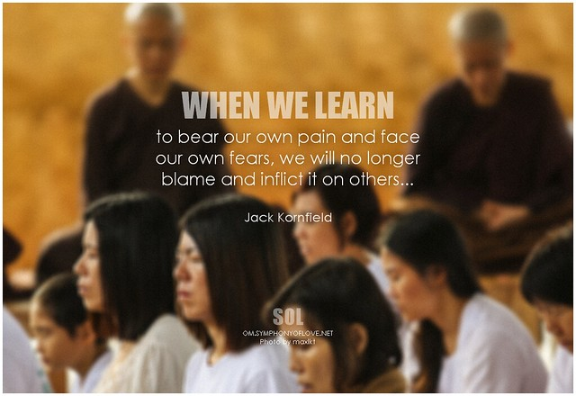 Jack Kornfield When we learn to bear our own pain and face our own fears, we will no longer blame and inflict it on others
