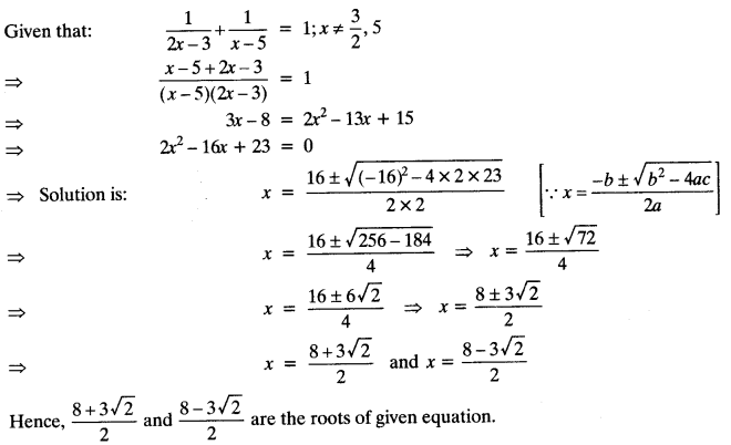 Quadratic Equations Chapter Wise Important Questions Class 10 Mathematics 134