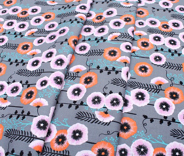 COTTON+STEEL Santa Fe 2062-01 Hollyhocks Grey