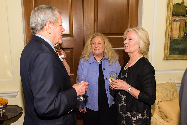 John Tanner, Carole Fetherstone, Lady Darroch - 2017 Tribute Dinner at the British Ambassador's Residence