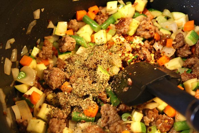 Spicy Sausage Pesto Minestrone