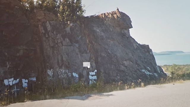 STEVE ANNE 10 and that person in the rock. #ridingthroughwalls #xcanadabikeride #googlestreetview #ontario