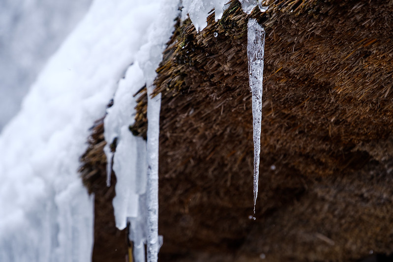 Icicles of thatched roof