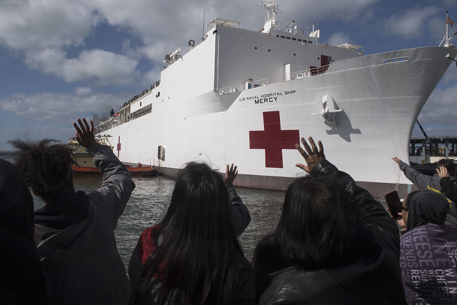 SAN DIEGO (Feb. 23, 2018) Hospital ship USNS Mercy (T-AH 19) departs Naval Base San Diego to participate in Pacific Partnership 2018. PP18's mission is to work collectively with host and partner nations to enhance regional interoperability and disaster response capabilities, increase stability and security in the region, and foster new and enduring friendships across the Indo-Pacific region. Pacific Partnership, now in its 13th iteration, is the largest annual multinational humanitarian assistance and disaster relief preparedness mission conducted in the Indo-Pacific. (U.S. Navy photo by Mass Communication 3rd Class Justin A. Schoenberger/Released)