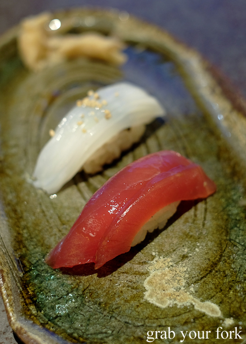 Marinated tuna nigiri sushi and cuttlefish nigiri sushi, part of our omakase by Chef Ryuichi Yoshii at Fujisaki by Lotus at Barangaroo in Sydney