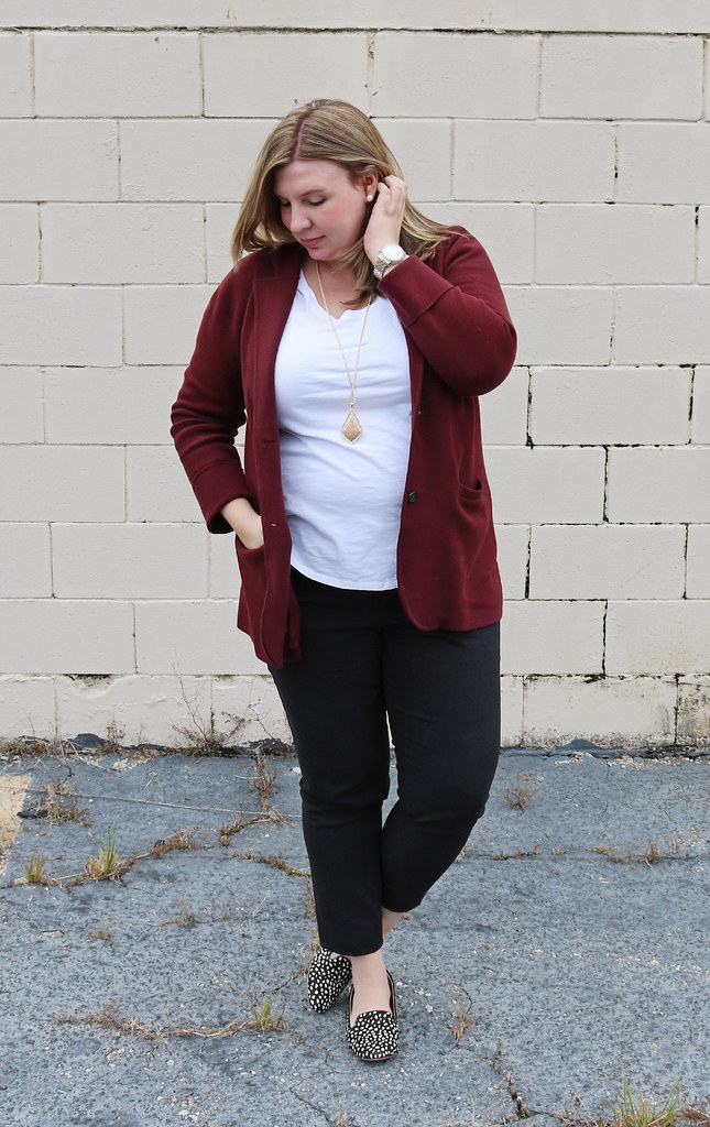 new_garnet sweater blazer, black pencil pants, white tee, black and white dot loafers 4