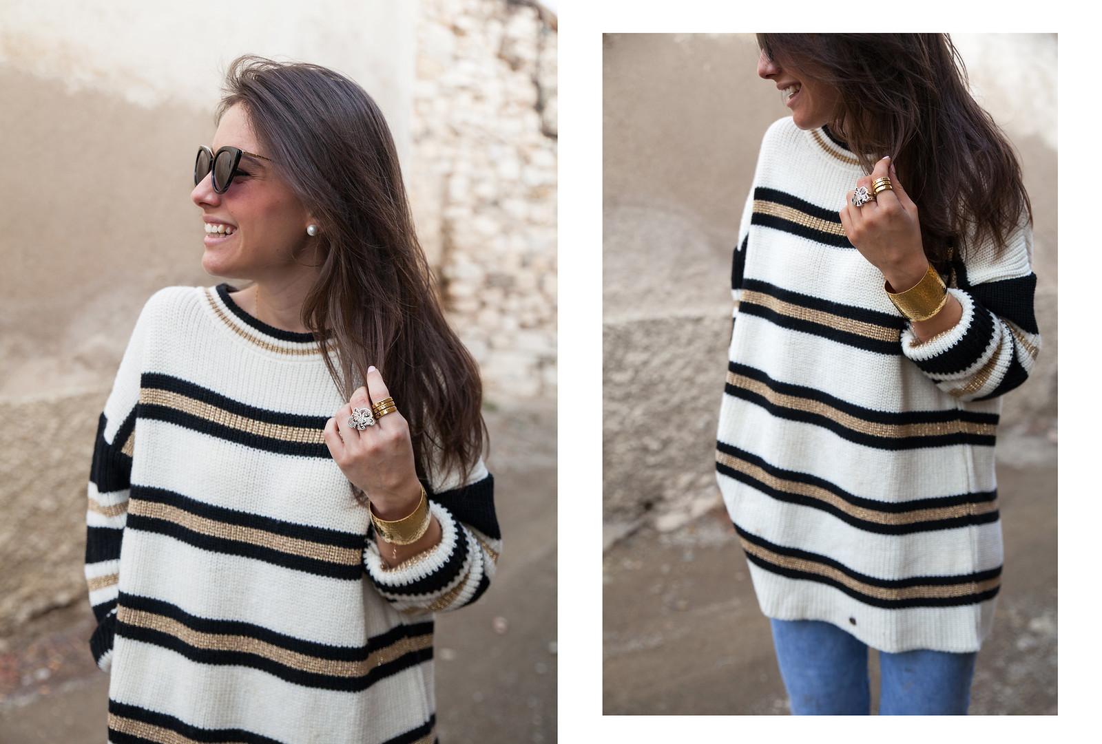 LOOK CASUAL DE FIN DE SEMANA CON JERSEY DE RAYAS theguestgirl fashion blogger influencer barcelona supreme jeans mango nueva coleccion primavera verano brand ambassador calçotada