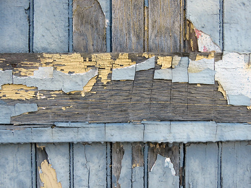 Peeling paint on an old wooden building in La Conner, Washington
