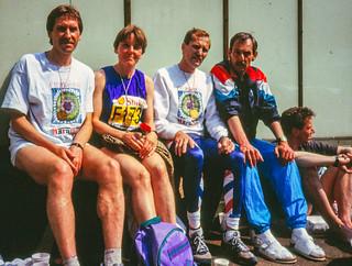 Karlheinz, Gisela, Josef, Wolfgang im Zielraum Hambueg-Marathon