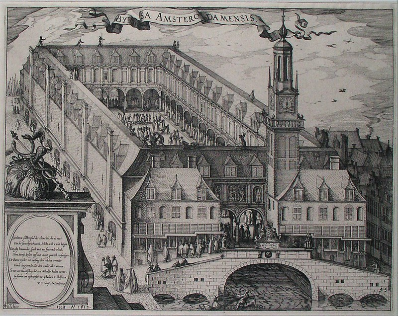 Engraving of the Amsterdam Stock Exchange, by Claes Jansz. Visscher