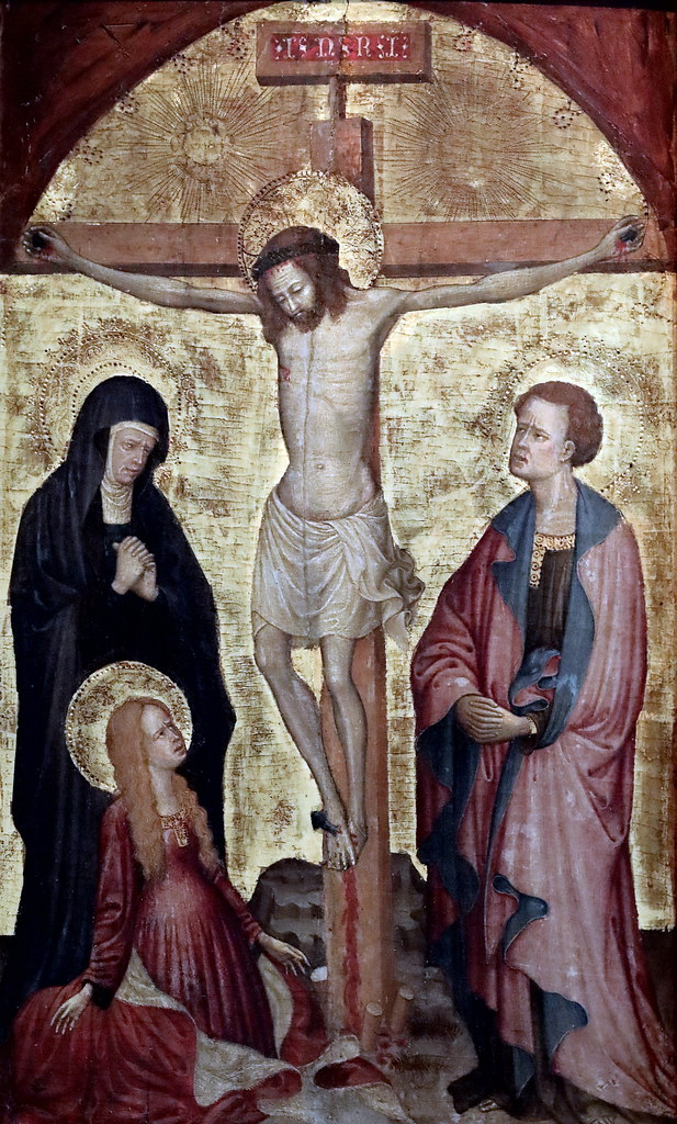 IMG_0031P Antonio Orsini. 1432-1491 Ferrare The crucifixion with the Virgin, SS John and Mary Magdalene Prague  National Gallery   Sternberski Palac