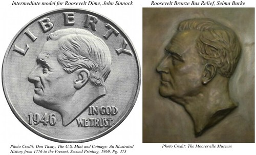 Roosevelt Dime model vs Burke bas-relief