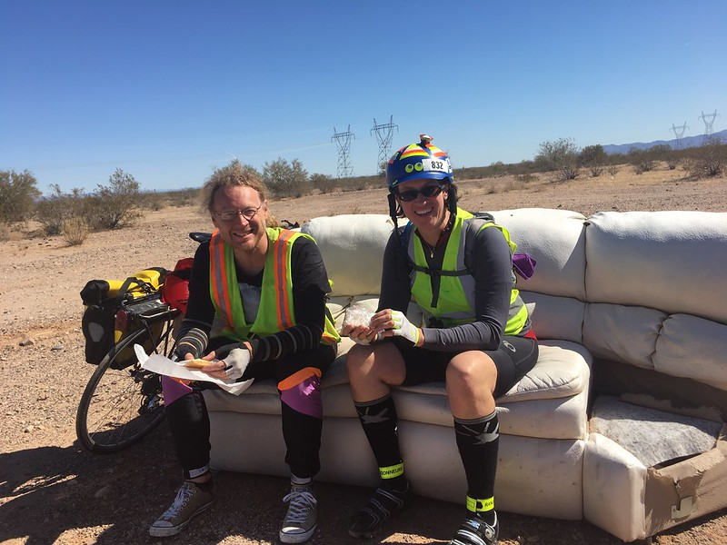 Enjoying delicious lemon bars on a white leater sofa in the desert