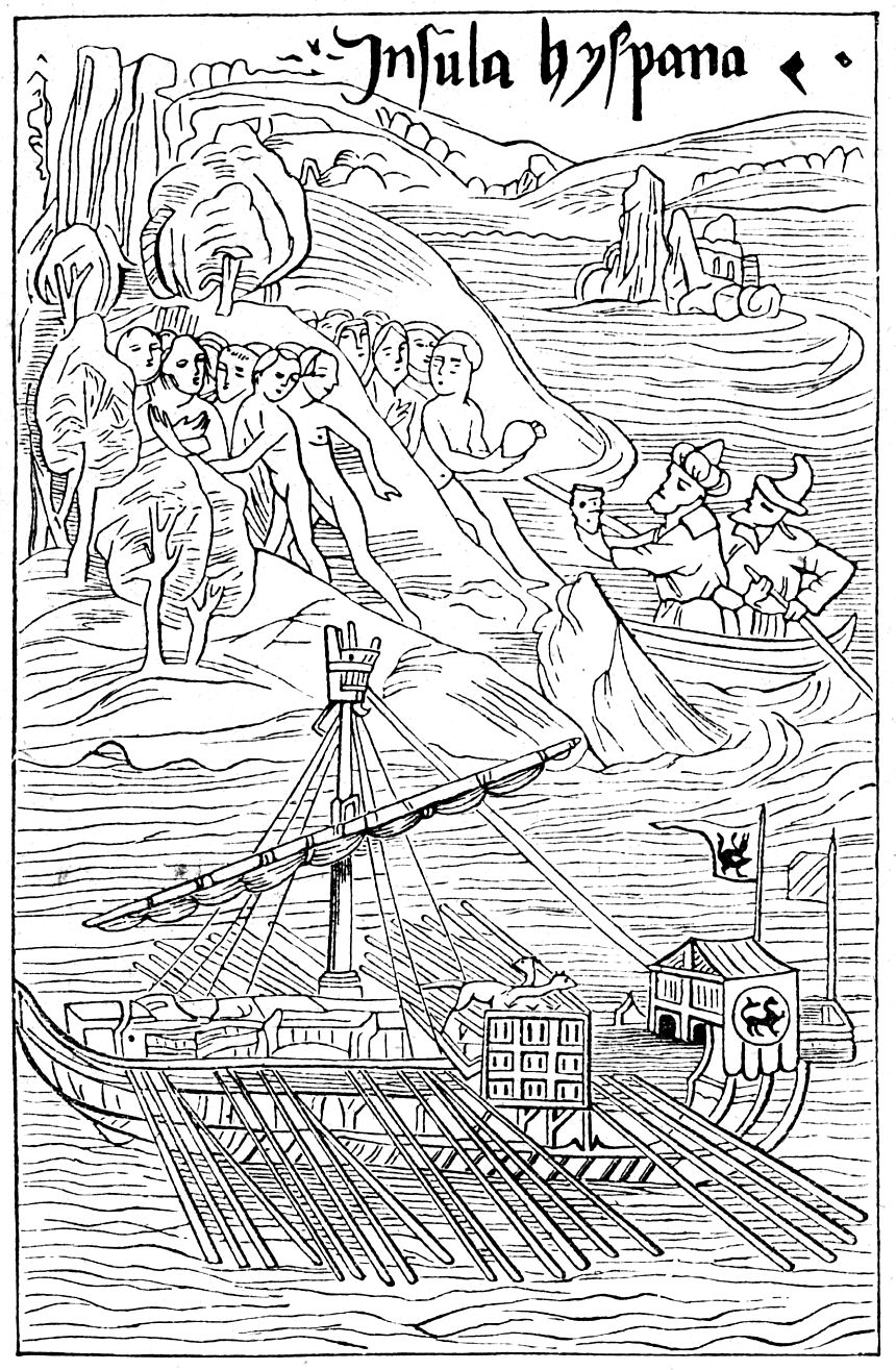 Columbus lands in Hispaniola. Some natives flee, others trade. Woodcut from 1494 Basel edition of Columbus's letter. Notice the depiction of the oar-driven galley in the foreground – an early European interpretation of the Indian canoe, as per Columbus's description. This is actually a Venetian galley, with the Lion of Saint Mark on the awning, directly copied from an earlier 1486 woodcut by Erhard Reuwich showing the harbor of Rhodes.