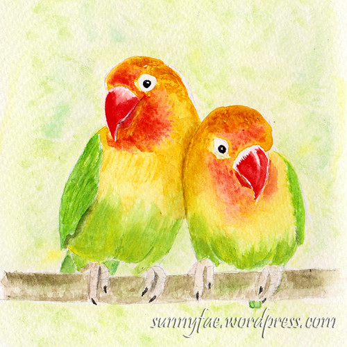 Lovebirds watercolour painting