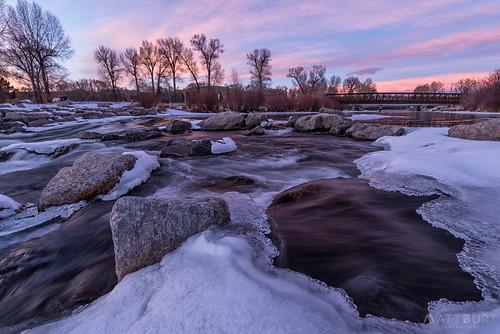 clouds gunnisonriver ice sunset whitewaterpark winter bridge