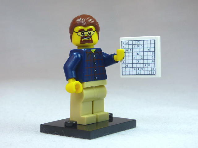 Brick Yourself Custom Lego Figure Geeky Guy with Sudoku