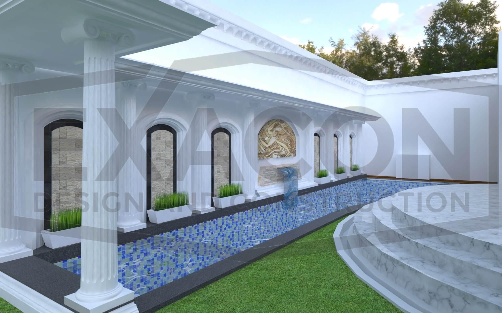Proyek Desain Kolam Renang Mediterania Bandung
