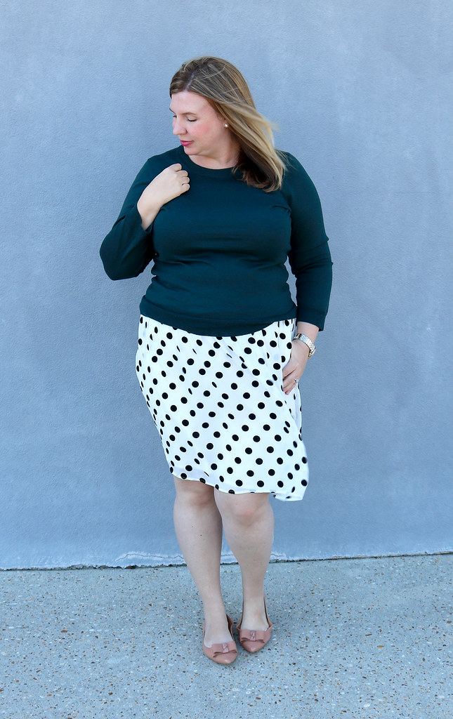 green tippi sweater, black and white polka dot, bow flats 4