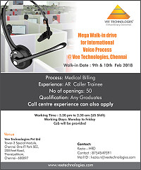 Mega Walk-in drive for International Voice Process @ Vee Technologies,Salem and Chennai