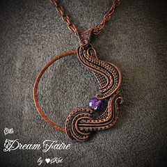 A Side of Amethyst - Crystal and Woven Copper Wire Necklace