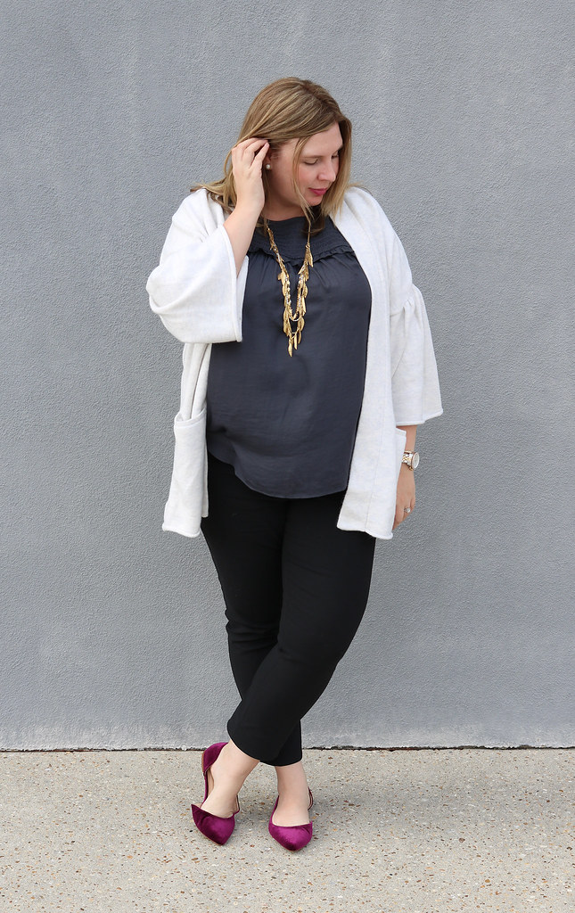 gray bell sleeve cardigan, gray shell, black pencil pants, garnet velvet flats 1