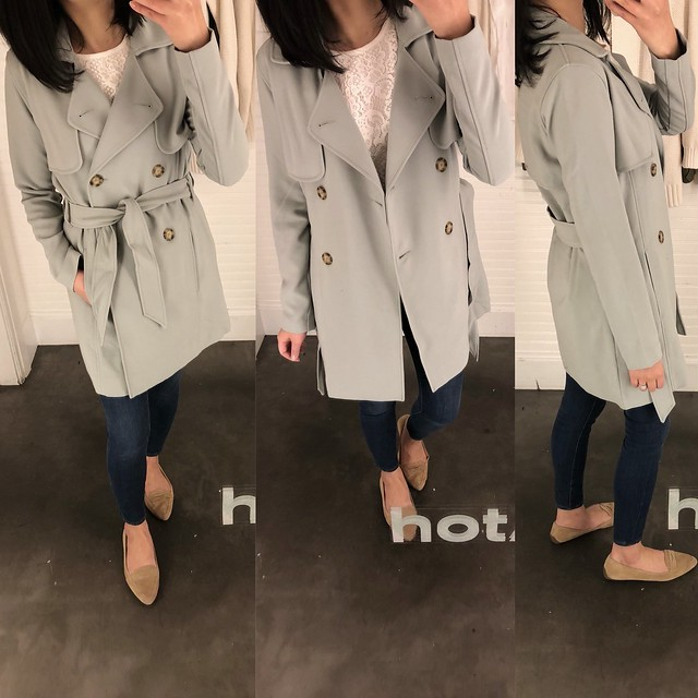 Abercrombie Drapey Trench Coat in mint, size XS regular