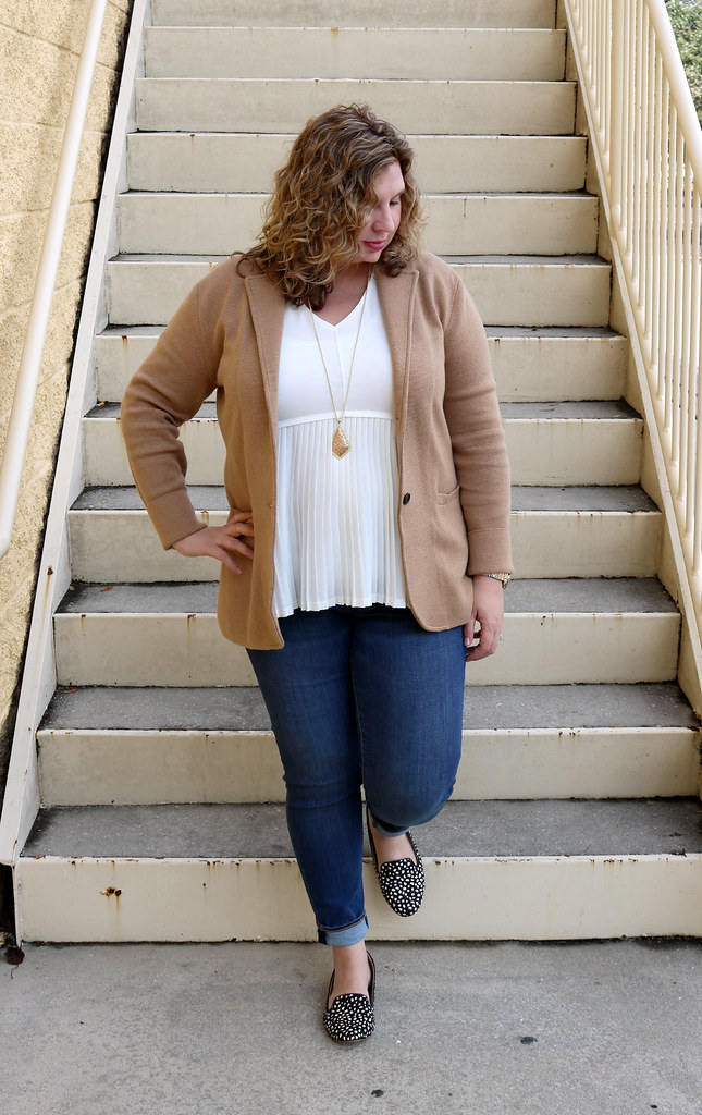 tan sweater blazer, cream peplum top, skinny jeans, black and white polka dot loafers 5