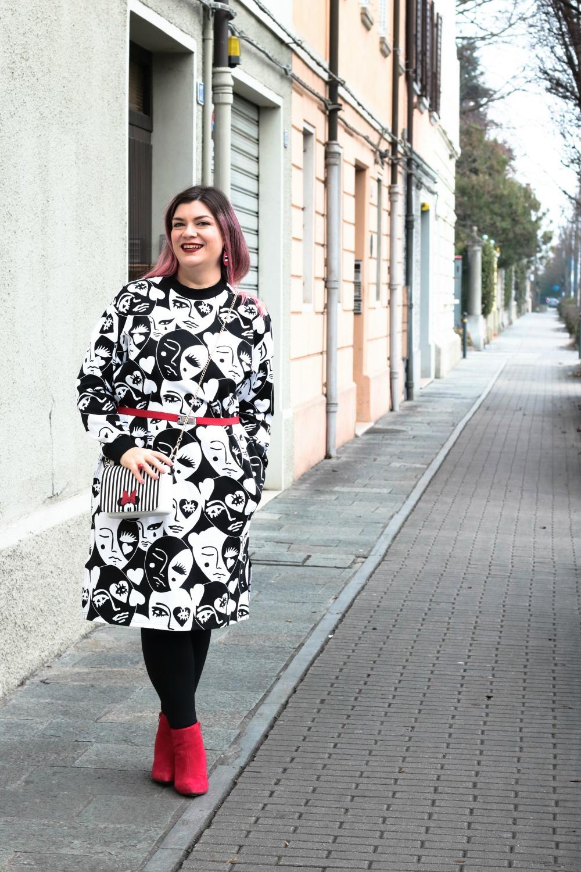 Outfit plus size monki, bianco rosso e nero (2)
