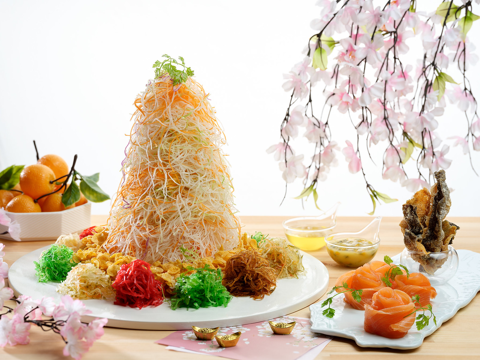 Xin Cuisine - Salmon Yusheng with Crispy Fish Skin and Passion Yoghurt Dressing