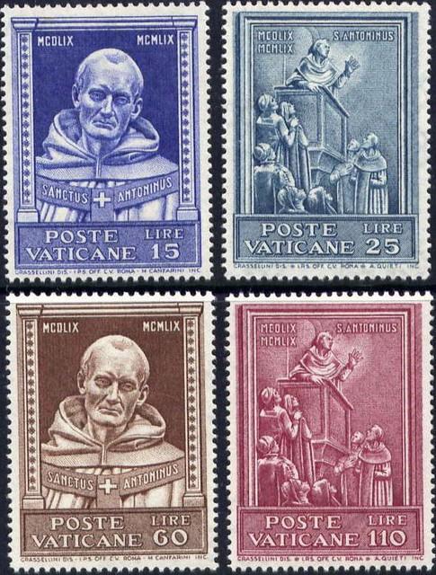 Známky Vatikán 1960 Svätý Anton, nerazítkovaná séria MNH
