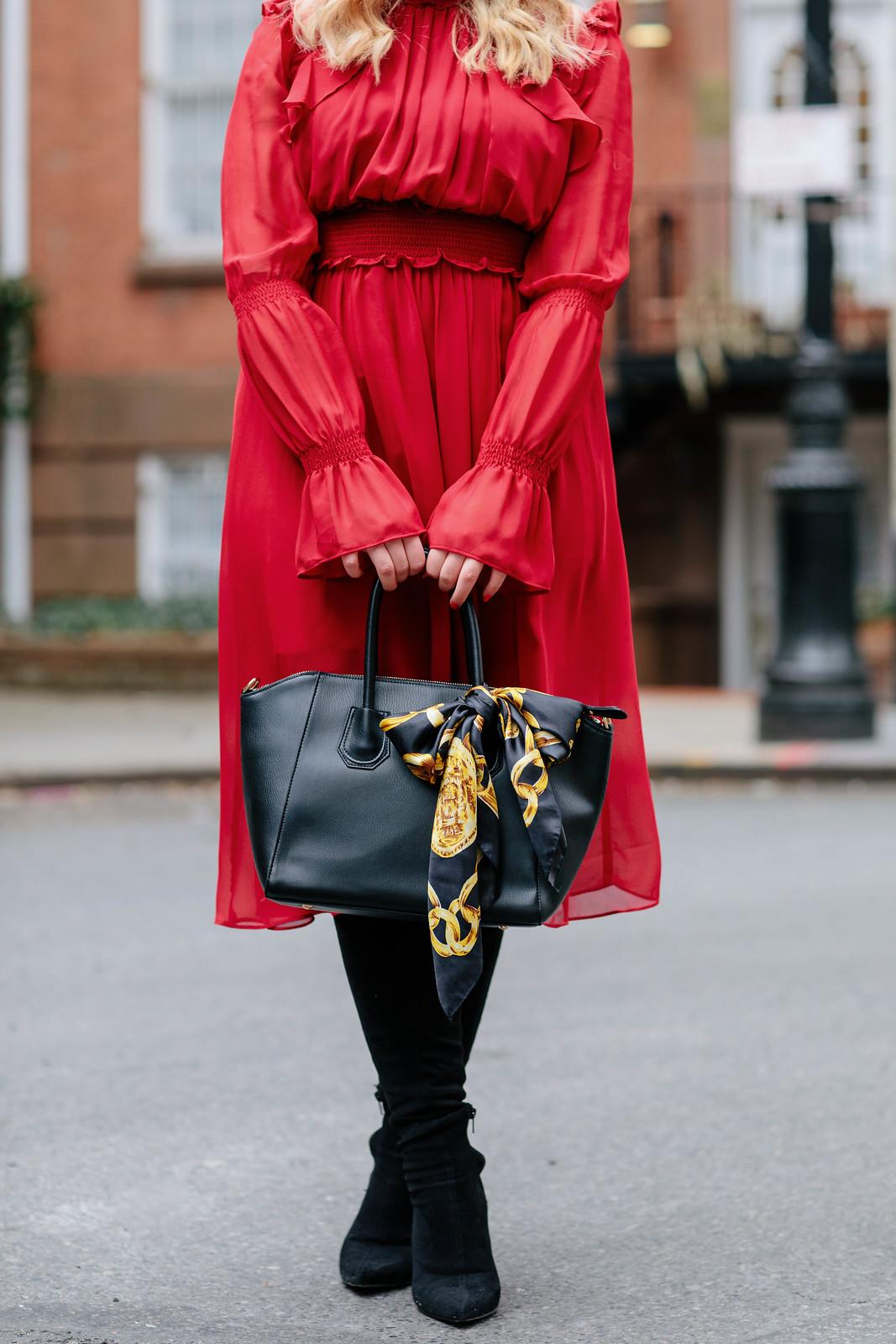 Red Dress Vintage Scarf Bag Black Over the Knee Boots