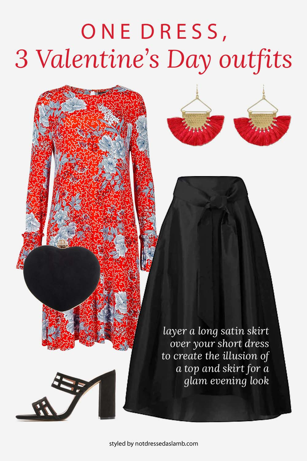 3 Ways to Style One Red Floral Dress for Valentine's Day | Glamorous evening wear outfit, creating a faux top by layering a long full satin skirt over the dress and adding heels and killer earrings