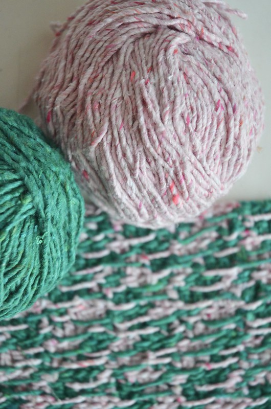 cool crochet project in green & pink