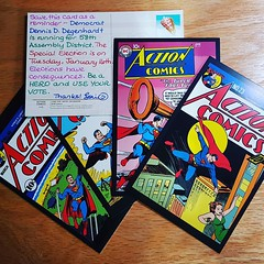 Five Superman-themed #PostcardsToVoters for #DDD4WI. Be a hero - use your vote!