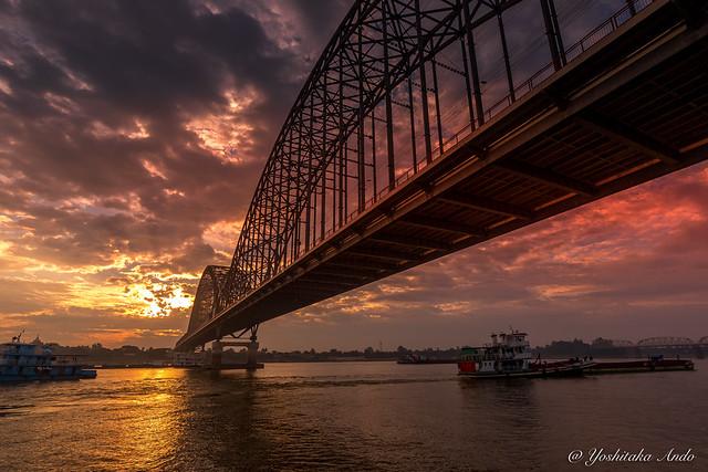 Irrawaddy Bridge / Yadanabon Bridge / Ayeyarwady Bridge - Sunrise