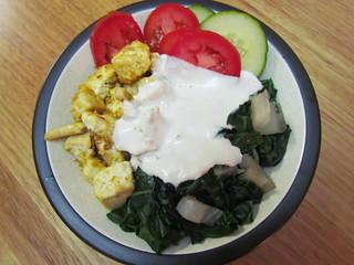 Herbivore's Tofu Scramble; Go-To Greens (Silverbeet); Tahini Sauce