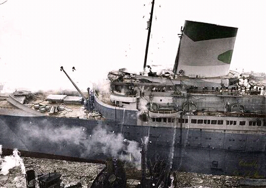 SS Normandie in New York, January 1942.