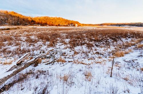 littlefallslake willowriverstatepark wisconsin snow sunset winter